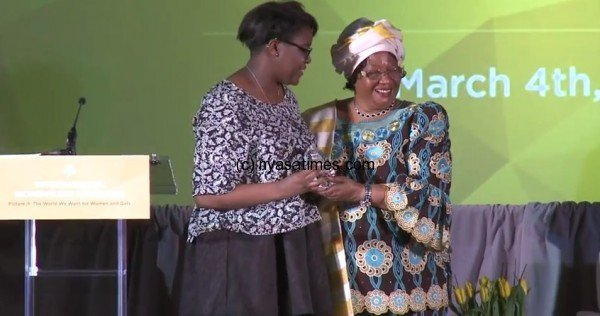 Former President of Malawi Joyce Banda recognizes...