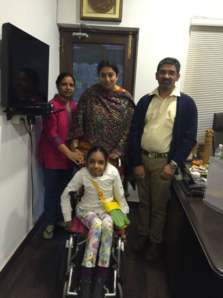 Smriti Irani assures help to differently-abled Gurgaon girl