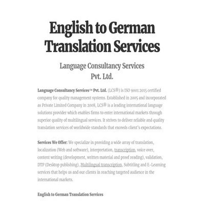 English to German Translation Services, Book Translation